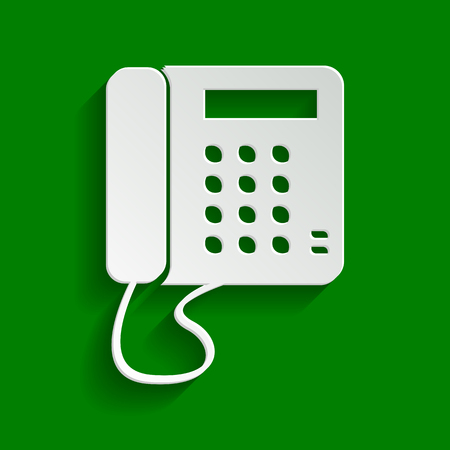 Communication or phone sign. Vector. Paper whitish icon with soft shadow on green background. Illustration