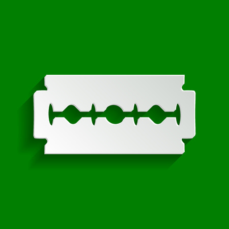 Razor blade sign. Vector. Paper whitish icon with soft shadow on green background.
