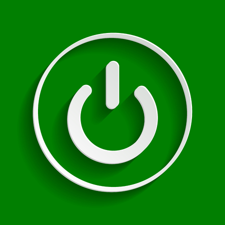 On Off switch sign. Vector. Paper whitish icon with soft shadow on green background.