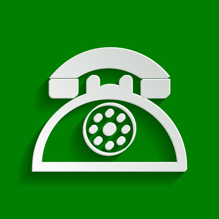 Retro telephone sign. Vector. Paper whitish icon with soft shadow on green background.