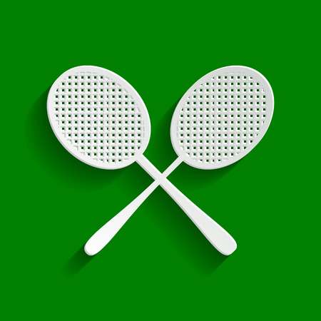Two tennis racket sign. Vector. Paper whitish icon with soft shadow on green background.