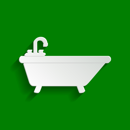 Bathtub sign illustration. Vector. Paper whitish icon with soft shadow on green background.