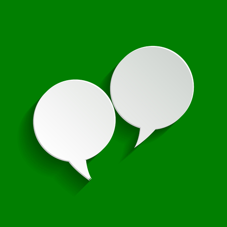illustrates: Two speech bubble sign. Vector. Paper whitish icon with soft shadow on green background.