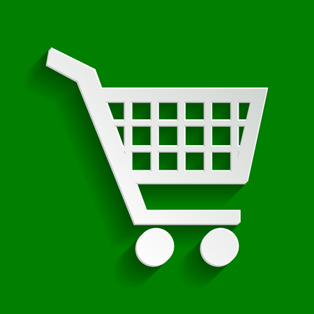 Shopping cart sign. Vector. Paper whitish icon with soft shadow on green background. Illustration