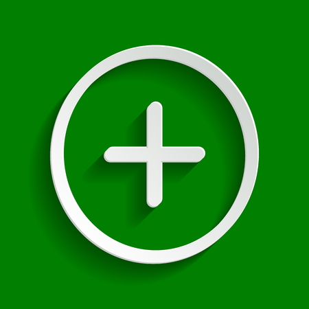 Positive symbol plus sign. Vector. Paper whitish icon with soft shadow on green background.