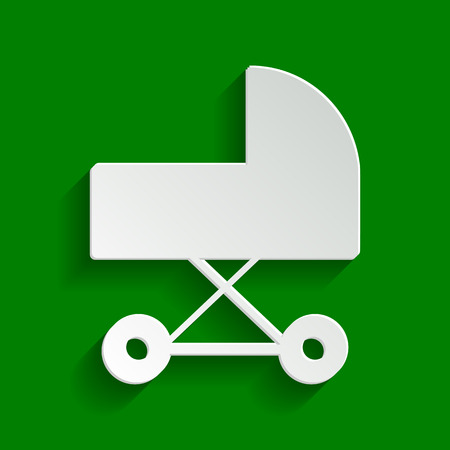 Pram sign illustration. Vector. Paper whitish icon with soft shadow on green background.