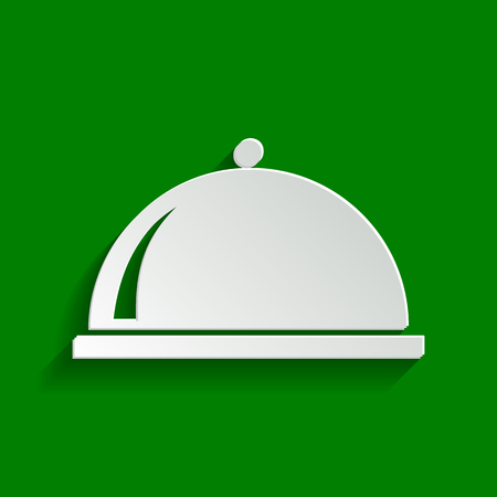 serving tray: Server sign illustration. Vector. Paper whitish icon with soft shadow on green background.