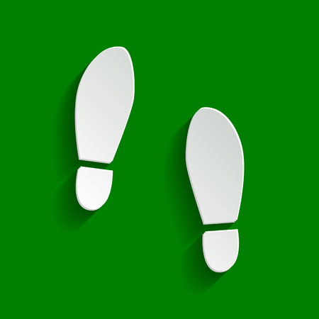 shoeprint: Imprint soles shoes sign. Vector. Paper whitish icon with soft shadow on green background.