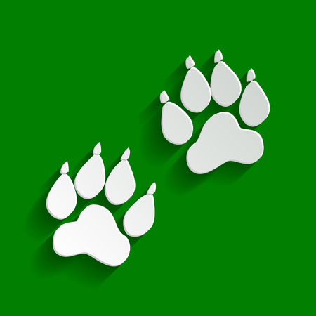 Animal Tracks sign. Vector. Paper whitish icon with soft shadow on green background.