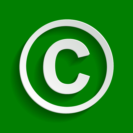 Copyright sign illustration. Vector. Paper whitish icon with soft shadow on green background. Illustration