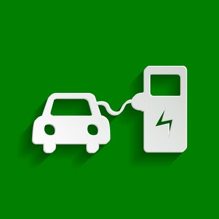 Signo de carga de batería de coche eléctrico. Vector. Papel icono blanquecino con suave sombra sobre fondo verde.