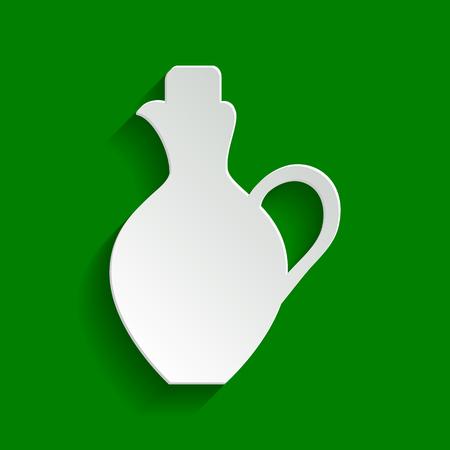 ollas de barro: Ilustración de signo de ánfora. Vector. Papel icono blanquecino con suave sombra sobre fondo verde.
