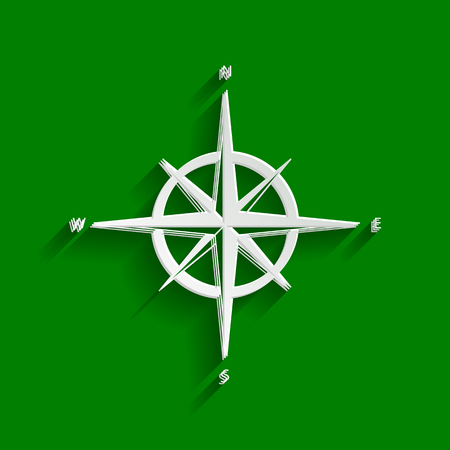 compass rose: Wind rose sign. Vector. Paper whitish icon with soft shadow on green background.