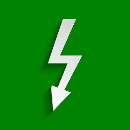 bolt: High voltage danger sign. Vector. Paper whitish icon with soft shadow on green background.