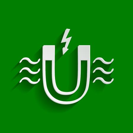 magnetismo: Magnet con indicazione della forza magnetica. Vettore. Carta icona biancastra con ombra morbida su sfondo verde.