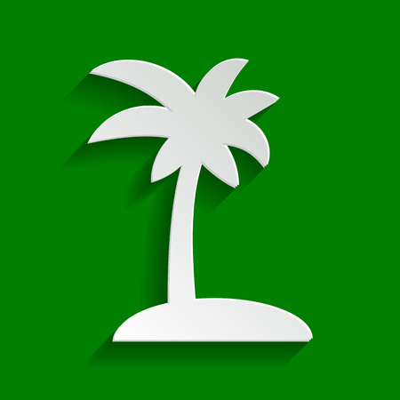 Coconut palm tree sign. Vector. Paper whitish icon with soft shadow on green background. Illustration