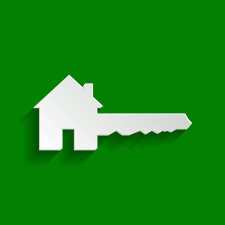 Home Key sign. Vector. Paper whitish icon with soft shadow on green background.