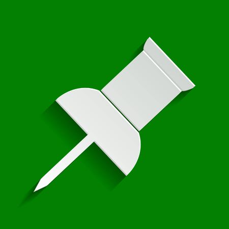 Pin push sign. Vector. Paper whitish icon with soft shadow on green background.