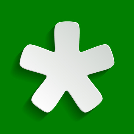 Asterisk star sign. Vector. Paper whitish icon with soft shadow on green background.