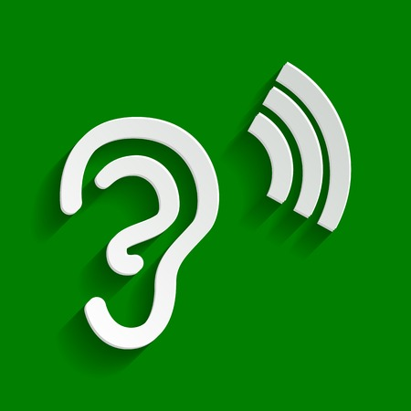 Human anatomy. Ear sign with soundwave. Vector. Paper whitish icon with soft shadow on green background.