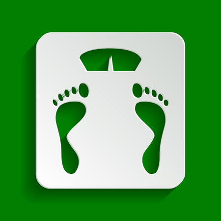 Bathroom scale sign. Vector. Paper whitish icon with soft shadow on green background.