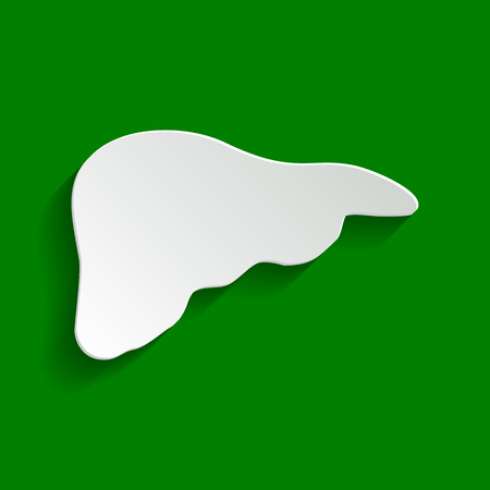 Human anatomy. Liver sign. Vector. Paper whitish icon with soft shadow on green background.