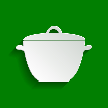 Saucepan simple sign. Vector. Paper whitish icon with soft shadow on green background.