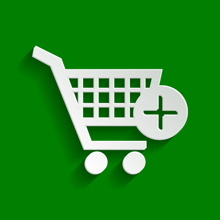Shopping Cart with add Mark sign. Vector. Paper whitish icon with soft shadow on green background.