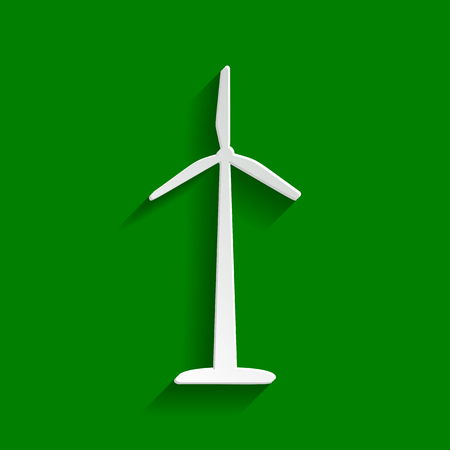 Wind turbine logo or sign. Vector. Paper whitish icon with soft shadow on green background.