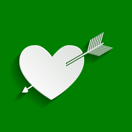 Arrow heart sign. Vector. Paper whitish icon with soft shadow on green background.
