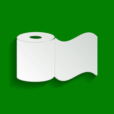 Toilet Paper sign. Vector. Paper whitish icon with soft shadow on green background.