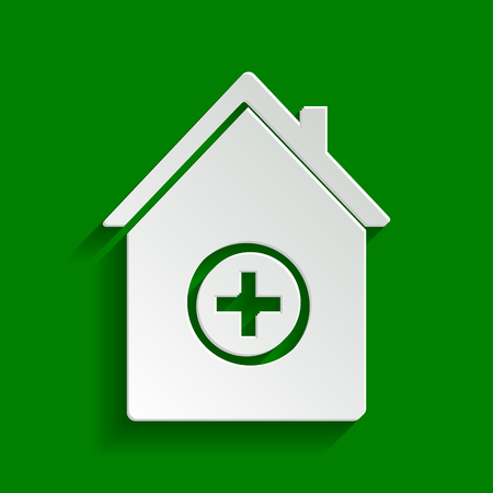 Hospital sign illustration. Vector. Paper whitish icon with soft shadow on green background. Illustration