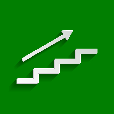 Stair with arrow. Vector. Paper whitish icon with soft shadow on green background. Illustration