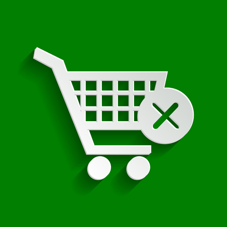 Shopping Cart with delete sign. Vector. Paper whitish icon with soft shadow on green background. Illustration