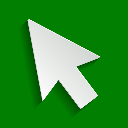 hyperlink: Arrow sign illustration. Vector. Paper whitish icon with soft shadow on green background.