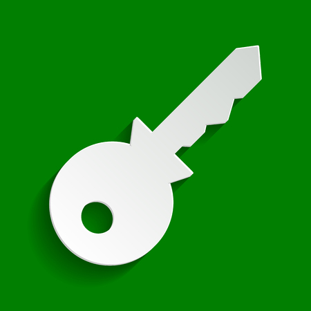 Key sign illustration. Vector. Paper whitish icon with soft shadow on green background. Illustration