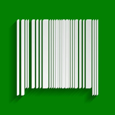 Bar code sign. Vector. Paper whitish icon with soft shadow on green background.
