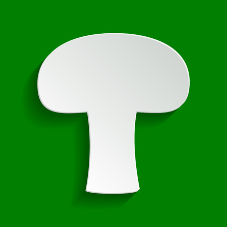 Mushroom simple sign. Vector. Paper whitish icon with soft shadow on green background.
