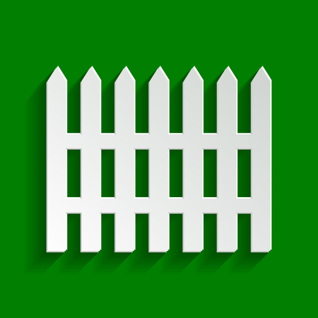 Fence simple sign. Vector. Paper whitish icon with soft shadow on green background.