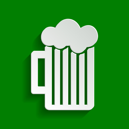 beers: Glass of beer sign. Vector. Paper whitish icon with soft shadow on green background.
