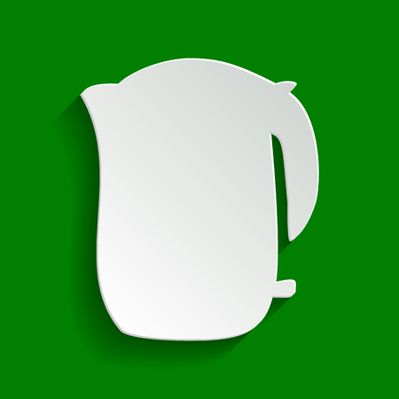 Electric kettle sign. Vector. Paper whitish icon with soft shadow on green background.