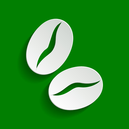 freshly: Coffee beans sign. Vector. Paper whitish icon with soft shadow on green background.