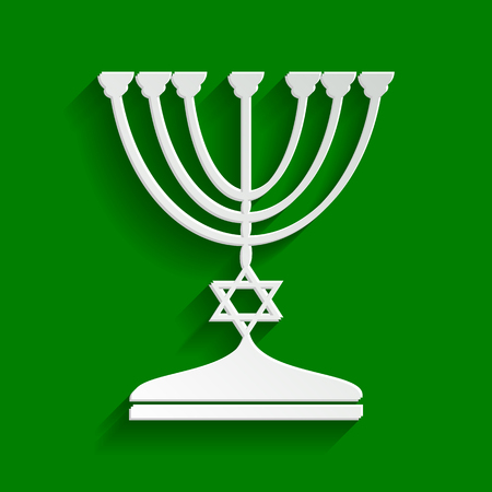 Jewish Menorah candlestick in black silhouette. Vector. Paper whitish icon with soft shadow on green background. Illustration