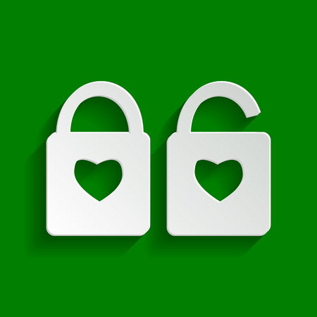 door lock love: lock sign with heart shape. A simple silhouette of the lock. Shape of a heart. Vector. Paper whitish icon with soft shadow on green background.