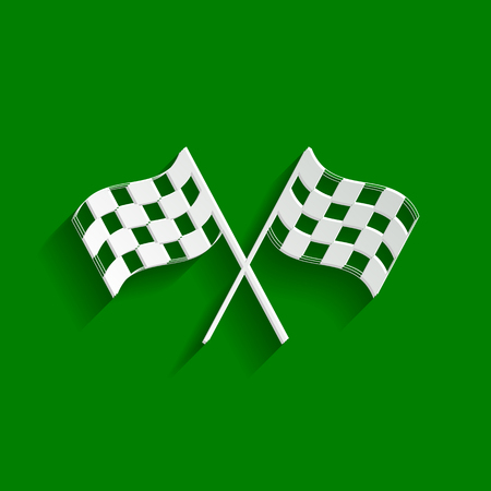 Crossed checkered flags logo waving in the wind conceptual of motor sport. Vector. Paper whitish icon with soft shadow on green background. Illustration