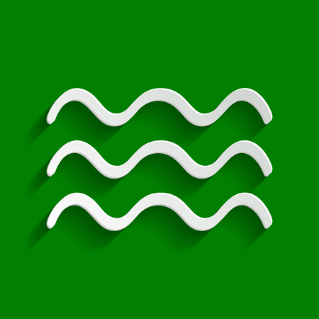 flooding: Waves sign illustration. Vector. Paper whitish icon with soft shadow on green background.