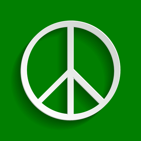 pacificist: Peace sign illustration. Vector. Paper whitish icon with soft shadow on green background.