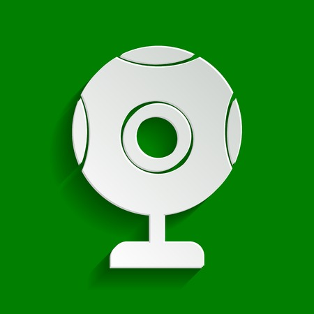Chat web camera sign. Vector. Paper whitish icon with soft shadow on green background.