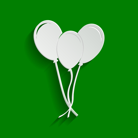 Balloons set sign. Vector. Paper whitish icon with soft shadow on green background.