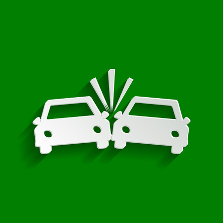 wreck: Crashed Cars sign. Vector. Paper whitish icon with soft shadow on green background.